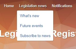Legislation news menu link